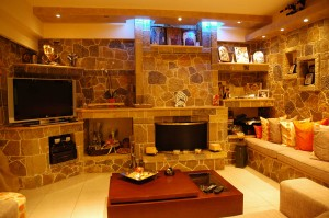 The stone fireplace in the living room