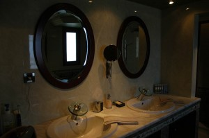 Two washbasins in the big bathroom of the master bedroom