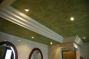 A detail photo of the ceiling construction in the master bedroom's bathroom