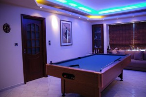 The playroom pool table